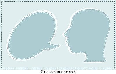 résumé, orateur, vecteur, parole, head., bulles