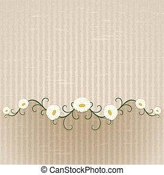 résumé, ornament., arrière-plan beige, floral, pâquerettes