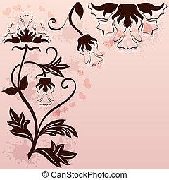 résumé, ornament., fond, floral, coin