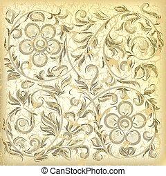 résumé, ornement, arrière-plan beige, floral, toqué