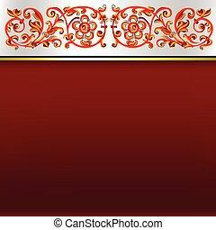 résumé, ornement, fond, floral, blanc rouge