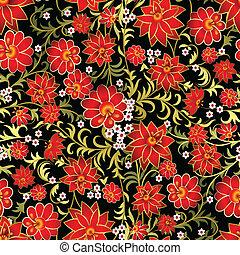 résumé, ornement, seamless, arrière-plan noir, floral