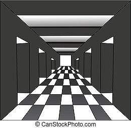 résumé, ouvert, couloir, portes