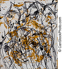 résumé, painting:, homme, deux femmes