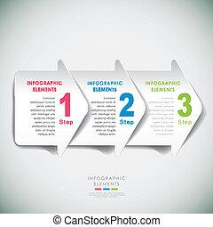 résumé, papier, 3d, flèche, infographics