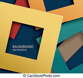résumé, papier, carrée, formes