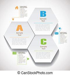 résumé, papier, hexagonal, vecteur, 3d