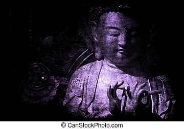 résumé, papier peint, temple, fond, chinois