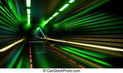 résumé, particules, arrière-plan., carnaval, tunnel., néon, ...