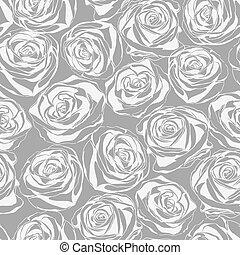 résumé, pattern., seamless, roses, floral, monochrome