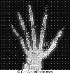 résumé, paume, humain, tomographie, visualisation, concept., futuriste, numérique, hud, image., grayscale, ui., conduit, main, données, scan., illustration., monde médical, analyse, vecteur, mri, healthcare, rayon x, logiciel