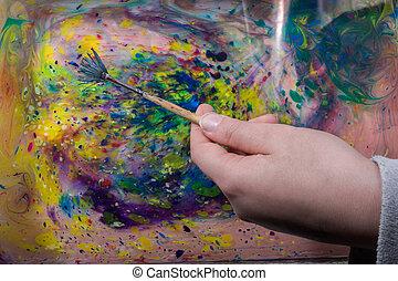 résumé, peinture, motifs, sur, coloré, fond