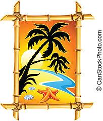 résumé, plage, paysage, à, coucher soleil, et, paume, dans, bambou, cadre