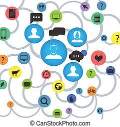 résumé, plan, moderne, réseau