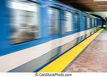 résumé, platform., mouvement, train, en mouvement, métro, barbouillage, vide