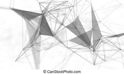 résumé, points, triangles., beau, en mouvement, géométrique, lignes, fond