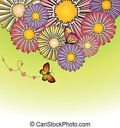 résumé, printemps, coloré, pâquerette