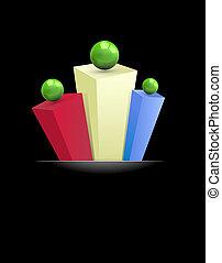 résumé, prismes, gre, fond, multi-coloré, 3d