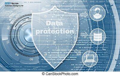 résumé, protection, données, bouclier, fond