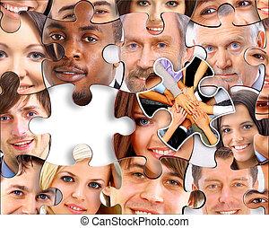 résumé, puzzle, fond, à, morceau, disparu