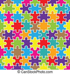 résumé, puzzle, fond, coloré, morceaux