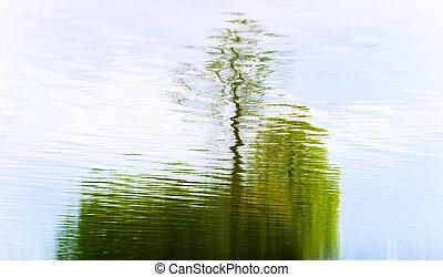 résumé, réflexion arbre, lac