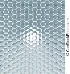 résumé, rayon miel, hexagone, fond, géométrique