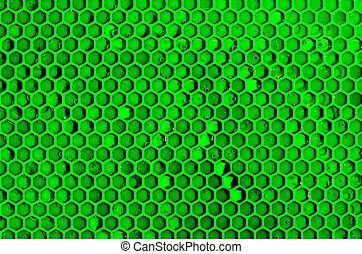 résumé, rayons miel, vert, cellules, fond