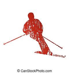 résumé, rouges, skieur