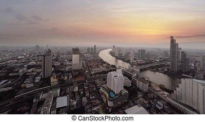 résumé, route, vidéo, cinemagraph, trafic, sunset., rivière...