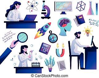 résumé, science, ensemble, coloré