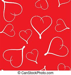 résumé, seamless, fond, valentine\'s, cœurs, jour
