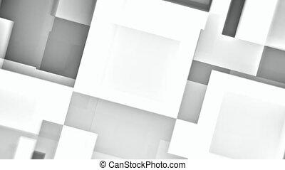 résumé, seamless, mouvement, en mouvement, fond, blanc, carrés, boucle