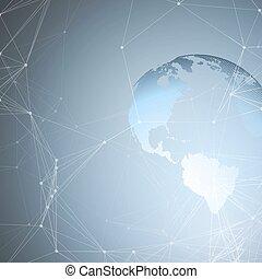 résumé, shapes., réseau, futuriste