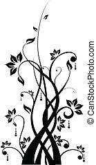 résumé, silhouette, floral