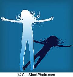 résumé, silhouette, girl, quel, saut, fond