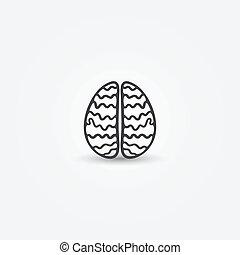 résumé, simple, cerveau, vecteur, icône