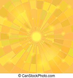 résumé, soleil, jaune, arrière-plan., élégant