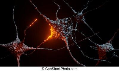 résumé, sombre, éclats (flares), neurons, fond, rouges