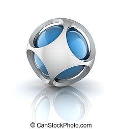 résumé, sphère, 3d