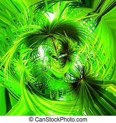 résumé, spirale, texture, arrière-plan vert, feuilles