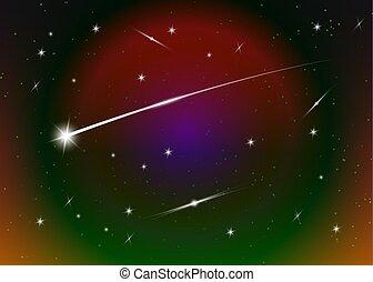 résumé, stardust, tir, galaxie, briller, bleu, espace, nébuleuse, arrière-plan., étoiles, étoile, toile fond., coloré, fond foncé, ciel, illustration., étoilé, contre, stars., vecteur, nuit, futuriste
