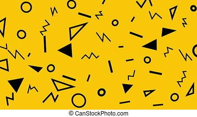 résumé, style, conception, triangles, cercles, lignes, memphis, coloré, modèle, loop., jaune, zigzags., shapes., retro, fond, géométrique
