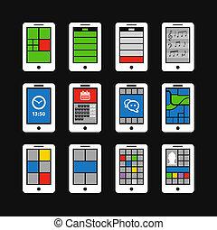 résumé, style, moderne, mobile, gadgets, à, couleur, interface