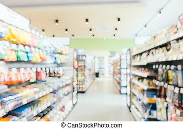 résumé, supermarché, commodité, defocused, barbouillage, magasin