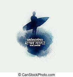 résumé, surfer, aquarelle