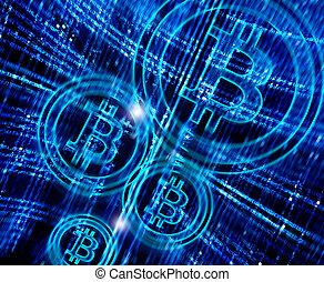 résumé, symbole, bitcoin, fond, numérique