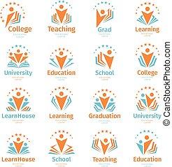 résumé, symboles, humain, logo, education, ensemble, isolé, diplômé, enseignement, blanc, chapeaux, coloré, collection, logotypes, fond, école, illustration., livres, université, silhouettes, vecteur, apprendre