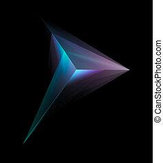 résumé, tétraèdre, incandescent, isolé, multicolore, arrière-plan noir