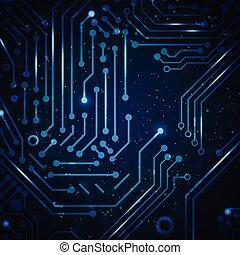 résumé, technologie, bleu, arrière-plan.